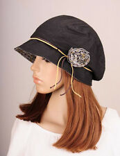 M265 Black Beauty Flower Cotton Hat Round Brim Cap Cloche Summer Autumn Women's