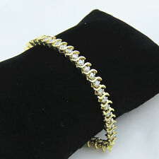 NYJEWEL 14k Solid Gold Gorgeous 5ct Diamond S link Tennis Bracelet 8""