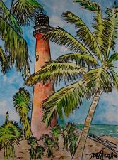 Cape Florida FL lighthouses lighthouse gulf coast watercolor painting art print