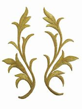 #2237G Gold Trim Fringe Leaves Glitter Boho Embroidery Iron On Applique Patch