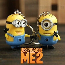2Pcs  Despicable Me Minion Toy Keyring Key Chain 3D Eyes Stuart Jorge AAA