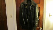 Banana Republic M Double Breasted Peacoat Style Blk Leather Jacket Sz M