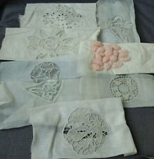 8 ANTIQUE HANDE EMBROIDERY & LACE APPLIQUES FOR CRAFTS   #6949