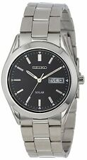 New Seiko Men's SNE039 Silver Solar Black Dial Day/Date Watch