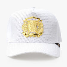 NEW GOLD STAR WHITE/LEATHER DR COAT OF ARMS TRUCKER HAT GOLD STAR