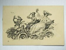 AUTO antique CAR  angelo principessa dama AK vecchia cartolina postcard