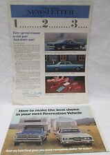 Vintage FORD Newsletter Jan. 1966 plus Recreation Vehicle Brochure Truck Campers