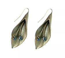 Hosta Large Wire Earrings with Pearls By Michael Michaud For Silver Seasons