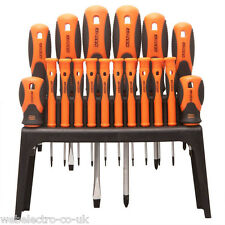 10712 Handy 18 Pcs. Screwdriver Tool Set Soft Grip Handles with Storage Rack