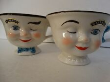 BAILEYS Coffee Cup Set His Hers Yum Couple  Heart Handle Porcelain Vintage