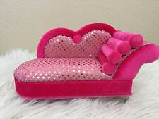 Pink Glitter Style Sofa Chaise Longue Jewelry Box Doll's House Furniture