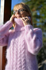 DUKYANA Hand Knitted Mohair Sweater New FUZZY cabled Jumper Pink Pullover Tneck