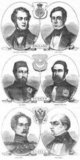 CRIMEAN WAR Peace Congress Diplomats - 2x Antique Prints 1856