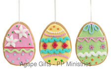 Melrose Ornaments - Adorable Pastel Claydough Easter Egg Cookies 3pc.