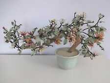 "20"" Vintage Chinese BONSAI TREE Jade Glass Flowers Potted - Feng Shui Beautiful!"