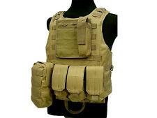 Military Tactical Paintball Army Gear Tan MOLLE Carrier Airsoft Combat Vest