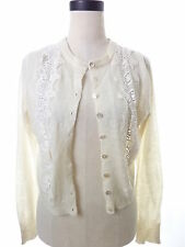 Lucky Brand Ivory Lace Floral Cardigan Thin Wool Blend Crop Large, stained