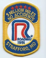 Roadway Express 1991 5 million miles Strafford MO driver patch 4X2-5/8 inch