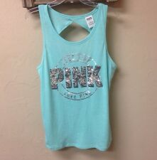 Victorias Secret Pink Collection Open Back BLING Tank Top  Small Aqua/Silver