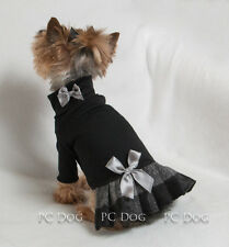 S Black and Silver Plaid Turtleneck T Shirt Dog Dress clothes Small Pc Dog®