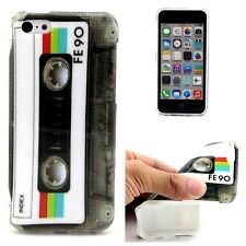 For iPhone 5C - HARD TPU RUBBER CANDY GUMMY SKIN CASE COVER GRAY CASSETTE TAPE
