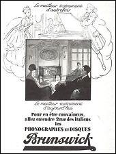 Publicité Gramophone Phonographe BRUNSWICK  photo vintage print  ad  1926 - 5h