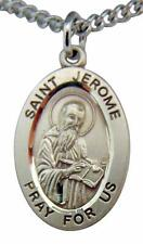 """Saint Jerome Oval Sterling Silver 7/8"""" Medal w/ 20"""" Chain Boxed Made in USA"""