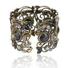 Vintage Bronze Resin Diamante Gem Hollow Stunning Carved Cuff Bangle Bracelet