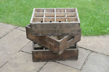 3x Vintage bottle crates old wooden beer bottle crate pub - FREE DELIVERY