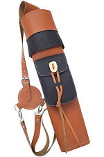 NEW ORANGE LEATHER Back side Quiver con tasca anteriore Archery Products aq-176.