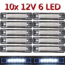 10pcs 6 LED Clearance Side Marker Light Indicator Lamp Truck Trailer 12V White