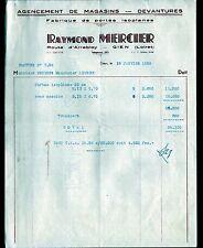 """GIEN (45) MENUISERIE EBENISTERIE / PORTES ISOPLANES """"Raymond MERCIER"""" en 1959"""
