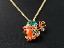 LES NEREIDES LITTLE CRAB, CORAL AND BLUE STONE NECKLACE