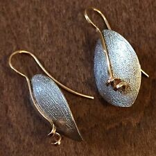 Ed Levin Sterling Silver & 14K Yellow Gold Earrings Vintage