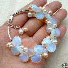 Exquisite Moonstone Fresh Water Pearl bracelet,Crystal