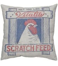 Primitives by Kathy Scratch Feed Pillow 12 by 12-Inch Farmhouse Rustic Decor