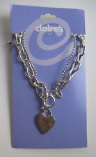 L 18.5 double chain heart charm NECKLACE claire's jewelry tarnished
