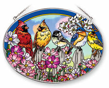 "AMIA STAINED GLASS SUNCATCHER ON THE FENCE BIRDS 9"" X 6.5"" OVAL  42052"