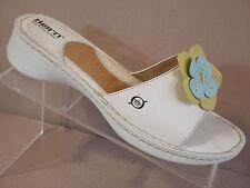 BORN Tease White LEATHER Floral Sandal Slides Open Toe Shoes Women's 8 / 39 M ~