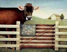 PROUD GATE PRINT BY LOWELL HERRERO whimsical farm animals flag cow 14X11 poster