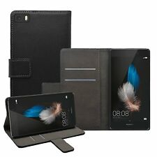Wallet BLACK Leather Flip Case Cover Pouch Saver For Huawei P8 Lite (+2 FILMS)