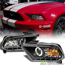 Black 2010-2013 Ford Mustang LED Halo Projector Headlights Headlamps Set 10-13