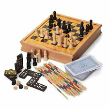 Traditional Retro Wooden Games Compendium - Cards Chess Dominoes Drafts