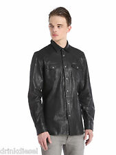MENS DIESEL LEATHER SHIRT JACKET SULPHUR SIZE MEDIUM BLACK BUY NOW £169.99