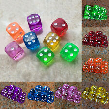 10pcs 16mm Dice Dices Six Sided Clear Standard Dice Gaming Dices Game Play Tool