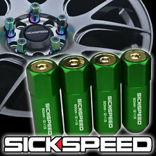 4 GREEN/24K GOLD CAPPED ALUMINUM EXTENDED TUNER LUG NUTS FOR WHEELS 12X1.5 L20