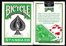BICYCLE GREEN BACK DECK PLAYING CARDS STANDARD SIZE & FACE USPCC