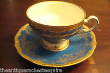 WEIMAR PORCELAIN,  Germany Mid Century Blue and Gold of cup and saucer [65]