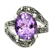 ELEGANT! NATURAL 12x10mm. RICH PURPLE AMETHYST-MARCASITE 925 SILVER RING SIZE 7