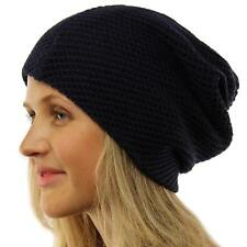 Winter 2ply Waffle Stretch Warm Knit Slouch Long Beanie Skully Ski Hat Cap Navy